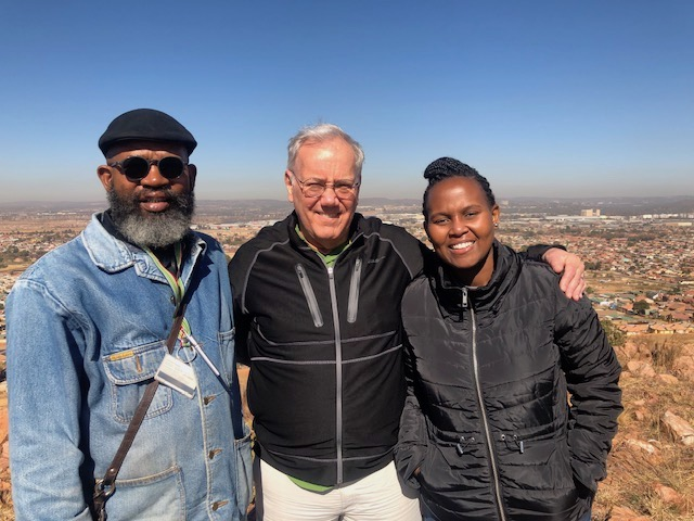 Joe with hosts in South Africa